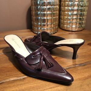 Anne Klein Daryl Tassel Leather Loafer Slip Heel